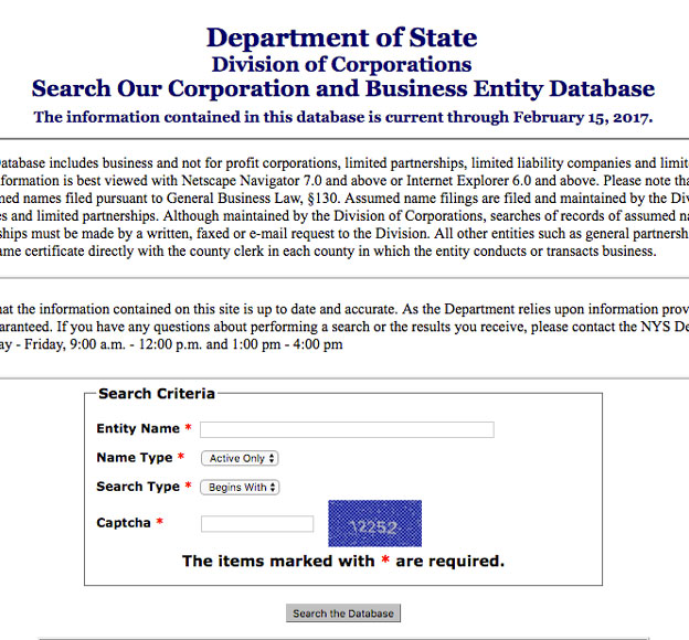 NY SOS – New York State Corporation Search Tool Guide