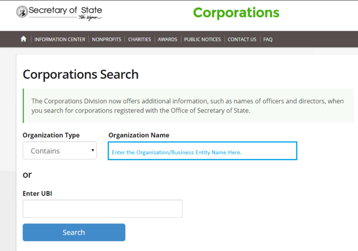 Washington SOS Business Eny and Corporation Search