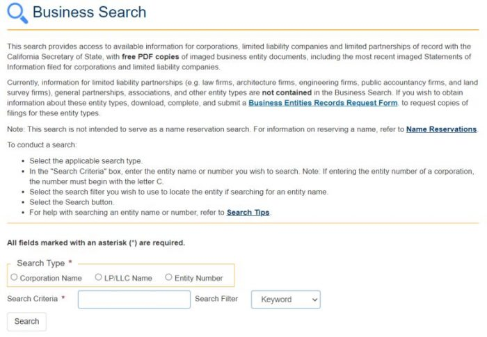 California Business Search Page